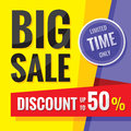 Big sale - concept banner vector illustration. Discount up to 50%. Limited time only. Abstract advertising promotion layout.