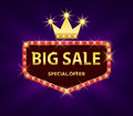 Big sale discount banner with red lights frame vector illustration. Frame banner big sale, promotion offer with gold Royalty Free Stock Photo