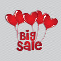 Big sale with hearts balloons over beige background vector illustration Stock Photos