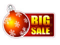 Big sale label with christmas ball and snowflakes Stock Photo