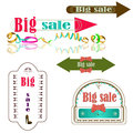 Big sale labels and arrows marked a Stock Photography