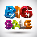 Big sale lettering made with d colorful letters isolated on white background vector illustration Stock Images