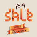 Big sale over lilac background vector illustration Royalty Free Stock Photography