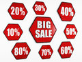 Big sale and percentages buttons Stock Image