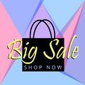 Big sale poster or banner with black bag and button shop now for web. Vector illustration tamplate