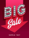 Big sale sign. Retro light signboard banner with glowing bulbs