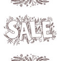 Big sale sketch hand drawn vector illustration with twigs pine cones plants Stock Photos