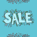 Big sale sketch. Hand drawn vector illustration with twigs, pine Royalty Free Stock Photo