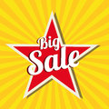Big sale star on yellow background Royalty Free Stock Photo