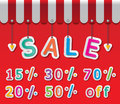 Big sale tag colorful paper discount tags on red background and awning Royalty Free Stock Images