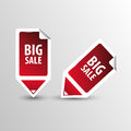 Big Sale tags. Text on square sticker tags with arrow. Vector Royalty Free Stock Photo