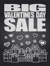 Big sale valentine s day chalkboard card eps Royalty Free Stock Photo