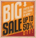 Big sale vintage poster template promotional limited time going on now retro label retro banner on old paper texture Stock Photos