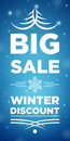 Big sale winter discount and snowflake in the middle blue background Stock Images
