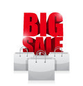 Big sale word and shopping bags illustration design over white Stock Images