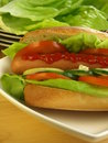 Big sandwich with frankfurter Royalty Free Stock Images