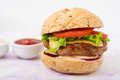Big sandwich - hamburger with juicy beef burger, cheese, tomato, and red onion Royalty Free Stock Photo