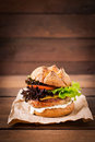 Big sandwich - hamburger with juicy turkey burger Royalty Free Stock Photo