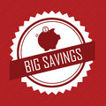 Big savings label with an abstract pig on red background Royalty Free Stock Images