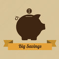 Big savings saving label with a pig on light brown background Stock Images