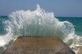 Big sea waves breaking on a breakwater Royalty Free Stock Photo