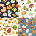 Big seamless pattern set with different worldwide cuisines of mexico, europe and italy