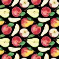 Big Seamless watercolor Pattern of apple and pear on a black background. Isolated hand draw illustration