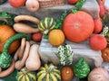 Big seasonal orange pumpkins, autumn harvest, halloween Royalty Free Stock Photo