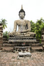Big seated buddha statue sukhothai thailand Royalty Free Stock Image
