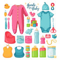 Big set baby stuff. Cute set of things for childrenhood. Isolated icons of baby goods for newborns. Clothing, toys