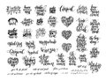 Big set of black and white handwritten lettering positive Royalty Free Stock Photo