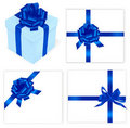 Big set of blue bows and gift box. Royalty Free Stock Image