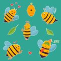 Big set of bright cartoon beesand elements
