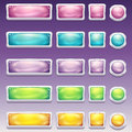 Big set of buttons in glamorous white frame different sizes for the user interface to computer games and web design Royalty Free Stock Photo