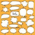 Big Set of Cartoon, Comic Speech Bubbles, Empty Dialog Clouds in Pop Art Style.