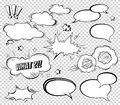 Big Set of Cartoon, Comic Speech Bubbles, Empty Dialog Clouds in Pop Art Style. Vector Illustration for Comics Book
