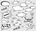 Empty Comic sound speech bubbles set isolated on white background vector illustration. clouds with place for text.