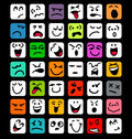 Big set of cartoon facial expressions many different colorful Royalty Free Stock Images