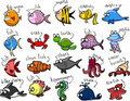 Big set of cartoon marine animals,vector Stock Image