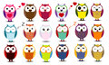 Big set of cartoon owls.