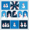 Big set of Christmas cards and tags with cute snowmen.
