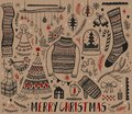 Big set of Christmas design element in doodle style. Hand draw collection New Year. Decorative drawing.