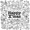 Big set of Christmas design element in doodle style Royalty Free Stock Photo