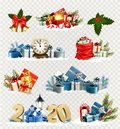 Big set of Christmas and New Year Holiday icons and objects.