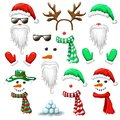 big set of Christmas and New Year photo booth and props. holiday mask clip art isolated on white. santa hat and beard snowman Royalty Free Stock Photo