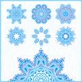 Big set of Christmas snowflakes, circular blue ornaments. Vintage decorative elements. Set of beautiful ethnic, oriental ornament Royalty Free Stock Photo