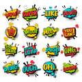 Big set comic text speech bubble phrase