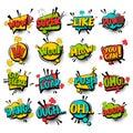 Big set comic text speech bubble phrase