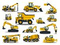 Big set of construction equipment. Special machines for the construction work. Forklifts, cranes, excavators, tractors