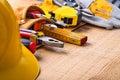 Big set of construction tools in toolbelt hardhat Royalty Free Stock Photo